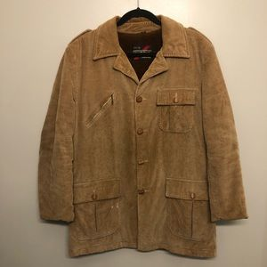 Sears corduroy winter jacket tan vtg 80s rare 42